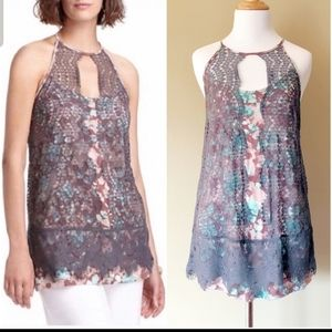 Anthropologie Lace Overlay Tank Top
